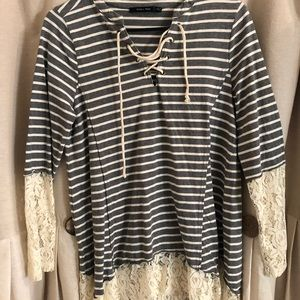 Boutique stripe top with lace detail size small